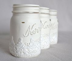 Hand Painted White Mason Jars with Lace Accent by ShabbyChicLife, $26.00