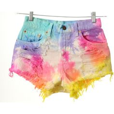 Vintage Levis High Waist Rainbow TIE DYE Denim Cut Off Shorts S ($65) ❤ liked on Polyvore