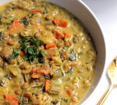 This luxurious, comforting Golden French Lentil Soup is truly a meal in a bowl! It's loaded with protein-packed lentils, vegetables, greens, and warming spices. Serve it as the main course with crusty Lentil Recipes, Soup Recipes, Vegetarian Recipes, Cooking Recipes, Healthy Recipes, Lunch Recipes, Burger Recipes, Sausage Recipes, French Lentil Soup