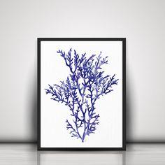 Coral Art Print Blue Sea Coral Print Coral Wall by ArtistiCorner