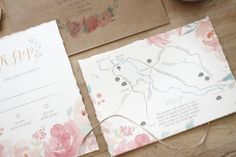 Just My Type Wedding Invitation and Wedding Stationery Design NZ Spring Floral Watercolour pretty pastel peonies custom map