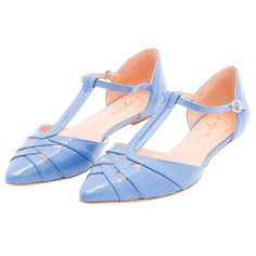 Sapatilha bico fino Luiza Barcelos verniz - azul