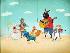 "Polina Bakhtina illustration for ""The Town Musicians of Bremen""."