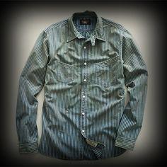 RRL メンズ シャツ ダブルアールエル Faded Indigo Striped Workshirt シャツ-アバクロ 通販 ショップ-【I.T.SHOP】 #ITShop