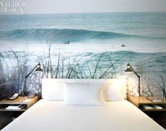 Beach photo mural, only instead of behind the bed I want it in front of so I can lay and look at it.. #wallpapermuralsbeach