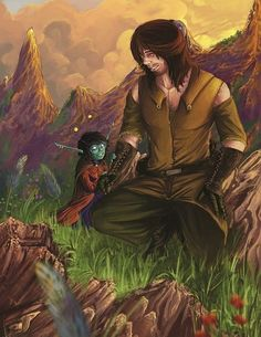 An illustration of Sami and Zinkx - characters from the series Chronicles of the Children by Kylie Leane.
