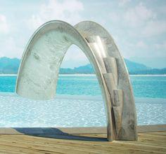 The Coolest Swimming Pool Slide Ever. The Carbon Fiber Silver Leafed Shoot Slide.