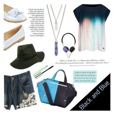 """""""black and blue-how about you?"""" by artistic-biscuit ❤ liked on Polyvore featuring Armani Jeans, Panacea, H&M, Fiorelli, Tiffany & Co., Frends and Clinique"""