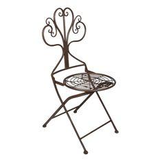CADEIRA DE FERRO MARROM.   Cadeira fabricada em ferro de alta qualidade, material que confere qualidade e resistência ao produto. A peça possui design diferenciado, com assento que remete ao estilo rústico e encosto com ornamentos floreados.   CorMarrom  MaterialFerro  MedidasLargura:49 cm x Altura:94 cm x Profundidade:43 cm