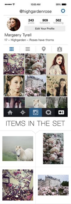"""""""highgarden rose - Modern Margaery Tyrell's Instagram"""" by starsshineout ❤ liked on Polyvore featuring art, modern, GameOfThrones, MargaeryTyrell, got and asoiaf"""