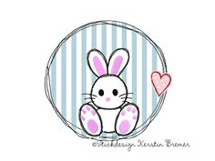Hase Lutzi Button. Hasen doodle Stickdatei. Doodle rabbit appliqué embroidery for embroidery machines.