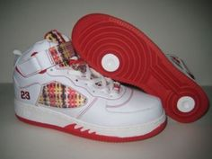Jordans Shoes Air Jordan Force Fusion 5 Plaid White Red [Air Jordan Force Fusion 5 - This Air Jordan Force Fusion highlights its looks on plaid detailing on a plastic webbing on the side panels and ankle strap, it features white leather upper, red acc Air Jordans, Michael Jordan Shoes, Plaid, Jordan 5, White Leather, Ankle Strap, Sneakers Nike, Free Shipping, Red