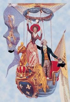A Wave in the Air - French Ballon ascenion with noble personages waving to those unseen below from an ornate r