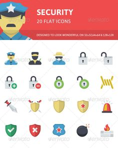 Security Flat Icons by PixelInspired This flat icons set is designed and optimized to look visually readable at small size, yet contain little details that show their