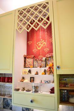 Mandir by indeco rustic mdf Living Room Partition Design, Pooja Room Door Design, Room Partition Designs, Home Room Design, Home Interior Design, Home Decor Furniture, Diy Home Decor, Room Decor, Temple Design For Home