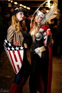 Me and my sister as Female Thor and Captain America
