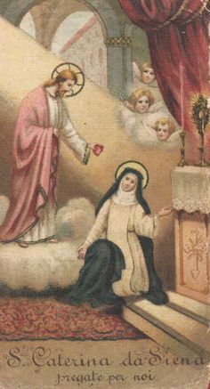 ordopraedicatorum:  St. Catherine of Siena —was greatly devoted to the Sacred Heart of Jesus; she made an entire donation of her heart to her Divine Spouse and she obtained the Heart of Jesus in exchange.