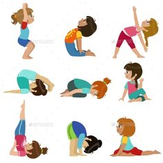 Buy Little Girls Doing Yoga Set by Top_Vectors on GraphicRiver. Little Girls Doing Yoga Set Of Bright Color Cartoon Childish Style Flat Vector Drawings Isolated On White Background Kids Yoga Poses, Yoga For Kids, Exercise For Kids, Gym Douce, Cartoon Drawings Of Animals, Kids Math Worksheets, Free To Use Images, Little Ballerina, Business Plan Template