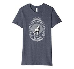 Cool Wolf T-shirt! Adventure starts with Courage. features an original retro vintage American style design by artist Jen Lester Mountains Wolf with a full moon. SHIRT IS FITTED STYLE / SLIM FIT. Order a size up for a looser fit. This graphic tee makes a cool gift for any adventure lover in your life! Perfect for birthday present or people who like camping, hiking, outdoors, wolves #wolf #wolves #adventure #camping #outdoors #lake #dogs #jeepgirl #hiking #workout #coolshirtsforwomen…