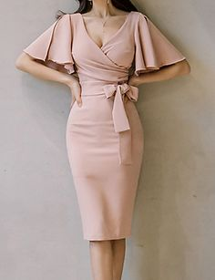 Daily Butterfly Sleeves Slim Bodycon Dress Solid Colored Ruched High Waist V Neck Summer Cotton Pink M L XL / Sexy Elegant Dresses Classy, Classy Dress, Classy Outfits, Stylish Dresses, Fashion Mode, Look Fashion, Bodycon Dress With Sleeves, Short Sleeve Dresses, Sheath Dress