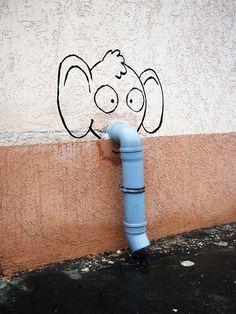 Arte de rua fofa e inteligente #streetart #cute #clever