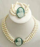 jewelry Costume set bracelet and Cameo with Necklace Choker Pearl Victorian