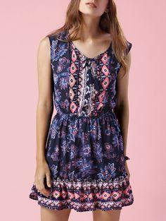 Printed V-Neck Sleeveless Waisted Dress