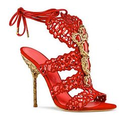 Sergio Rossi Spring 2014 Collection Red Jeweled Sandals #Shoes #Heels #Bejeweled