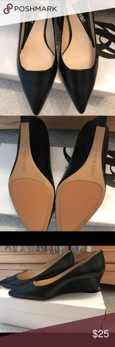 Nine West black wedge flats Brand new! Maybe worn around the house. Comfortable. Nine West Shoes Wedges