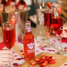 DEAR GALENTINE. Celebrate your fabulous gal pals this #GalentinesDay with #handmade #gifts, handmade #hugs, handmade #drinks and #brunch foods made by some brunch-chef's hands. #EasyDrinks #Vday Just mix Smirnoff ICE Strawberry Bellini with a splash of soda, add a strawberry garnish, and enjoy!