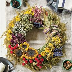 Fall Wreath with Dried Flowers and Herbs - Southern Living