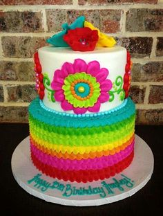 Colorful cake for Mexican Fiesta or Cinco de Mayo Mexican Birthday Parties, Mexican Fiesta Party, Fiesta Theme Party, Rosalie, Colorful Cakes, Colorful Flowers, Bright Cakes, Colorful Party, Party Cakes