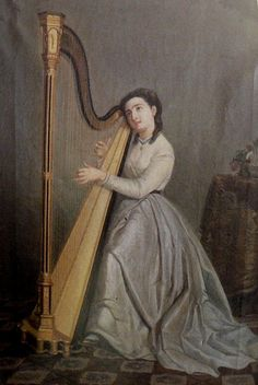 Francisco Miralles y Gallup (1848-1901)  —   Portrait de Mariquita Miralles jouant de la harpe  (600×895)