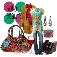 Boho Beauty! Shoes, top, everything is so fun! Love the bag!