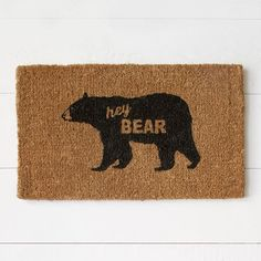 """Hey Bear"" doormat by West Elm // This absolutely belongs in a Baylor home!"