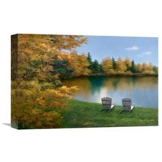 """Global Gallery 'Forever Autumn' by Diane Romanello Painting Print on Wrapped Canvas Size: 20"""" H x 30"""" W x 1.5"""" D"""