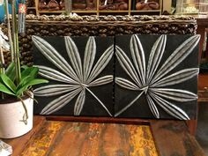 Balinese Carved Timber Palm Leaf Wall Hangings Plaques Set of 2 - NEW Bali