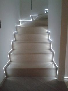 Steps With Skirting Boards Flush The Wall And Led Light