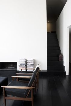 Love the mid century furniture, dark hardwood floors and sleek white walls, fireplace