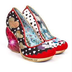 Irregular Choice Alice In Wonderland 4254-05A Queen Of Hearts Womens Heart High Heel Shoes - Black & White Heart Print