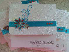 Wedding Invitations in turquoise & red