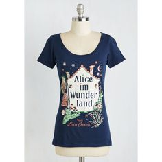 Out of Print Scholastic Mid-length Short Sleeves Novel Tee ($30) ❤ liked on Polyvore featuring tops, t-shirts, apparel, blue, graphic tee, graphic design t shirts, blue tee, graphic tees, print t shirts and out of print tees