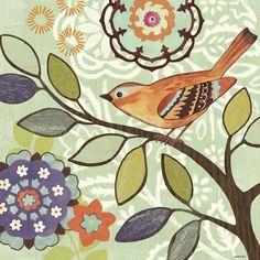 Found it at Wayfair - Bird Bliss Orange by Jennifer Brinley 2 Piece Painting Print on Wrapped Canvas Set Fabric Painting, Painting Prints, Paintings, Decoupage, Bird Illustration, Bird Drawings, Watercolor Bird, Leaf Art, Little Birds