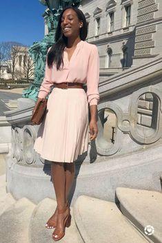 cbfa49c5bc Pleated Skirt for Spring Spring Pastel Pink Lana Jackson DC Stylist The  Storied Life Blog #