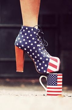 Cool american flag ankle boots, american flag platform high heel boots, patriotic lace up ankle boots