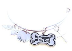 In Memory of my Dog Personalized Hand Stamped Adjustable Wire Bangle Bracelet