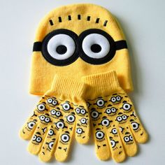 Minion Baby Hat With Knitted Gloves Minions infant baseball caps