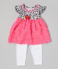 Loving this Pink Leopard Tunic & White Leggings - Infant, Toddler & Girls on #zulily! #zulilyfinds