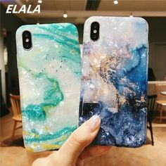 ELALA Glossy Marble Case For iphone Case Funny Pattern Glitter Conch Silicon 17