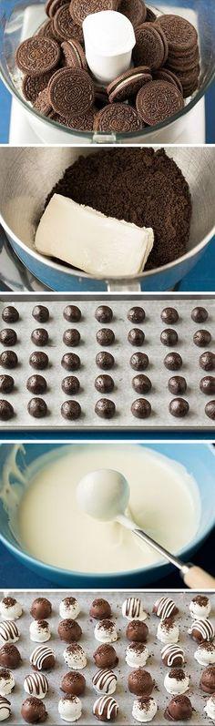 Recetas de trufas que puedes hacer en menos de una hora 5 recipes of truffles that you can make in less than an hour. Kolaci I Torte, Diy Food, Sweet Recipes, Love Food, Cupcake Cakes, Mini Cakes, Sweet Treats, Dessert Recipes, Oreo Desserts